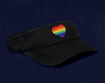 883c4e01 12 Gay Pride Rainbow Heart Visors In Black In a Bag (12 Visors) (VI-RB9)