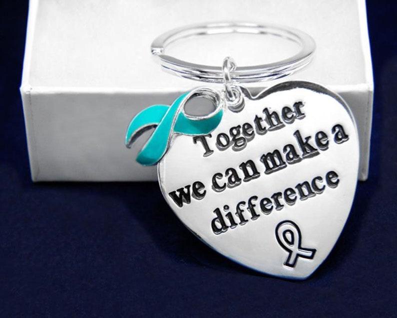 12 Heart Sexual Assault Awareness Ribbon Key Chains 12 Key Chains