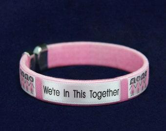 25 Pink Ribbon Bracelets (25 Bracelets)  (B-22-1WT)