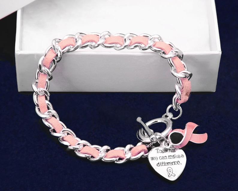 Leather Rope Pink Ribbon Bracelet image 1