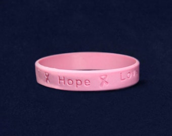 Breast Cancer Awareness Pink Ribbon Silicone Bracelet (Adult) (RE-SILB-1)