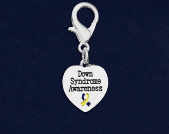 Down Syndrome Awareness Heart Hanging Charm in a Bag (1 Hanging Charm - Retail) (RE-HC-HRT-10DS)