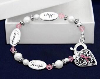 Hope Strength Pink Ribbon Bracelet