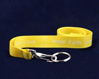 Yellow Ribbon Lanyard - Hope Faith Love (RE-LAN-14H)