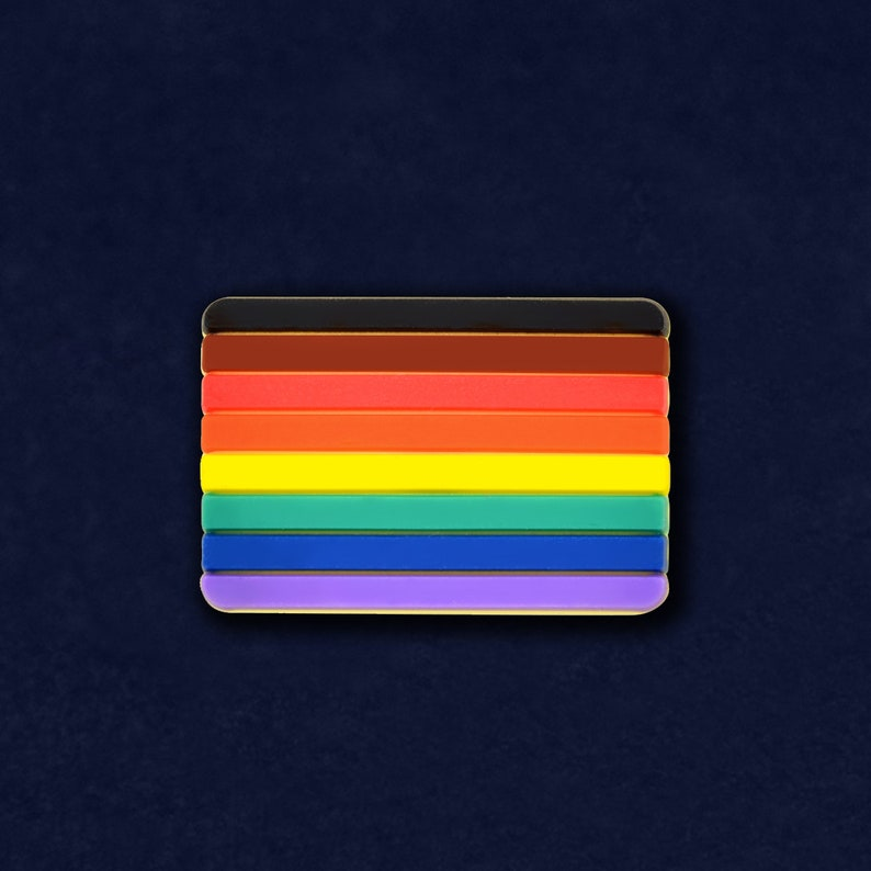 Philadelphia 8 Stripe Pride Rainbow Flag Silicone Pins