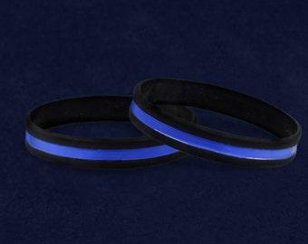 50 Police Support Thin Blue Line Silicone Bracelets in a Bag (50 Bracelets) (SILBB-FR)