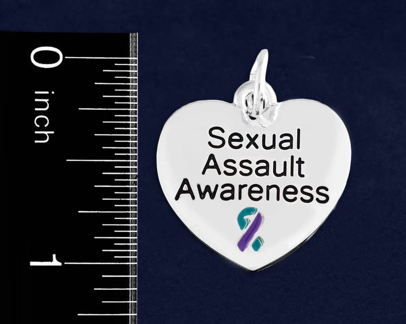 10 Charms 10 Heart Sexual Assault Awareness Charms in a Bag C-129-32SE