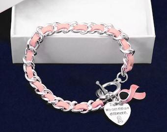 Pink Ribbon Leather Rope Bracelets