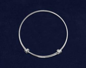 12 Retractable Silver Bangle Bracelets in a Bag (12 Bracelets) (B-109)