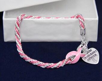 Rope Pink Ribbon Awareness Bracelet