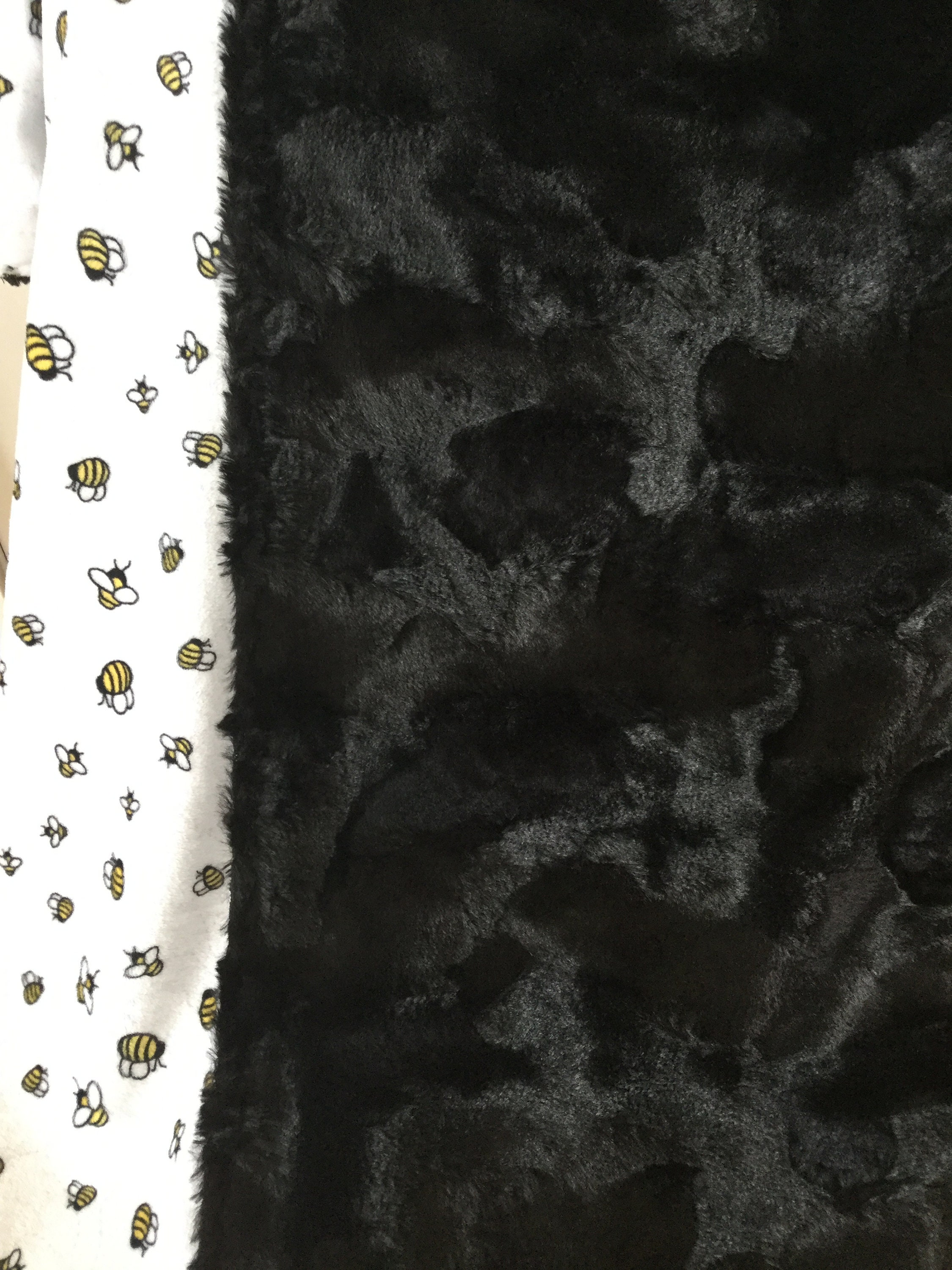 Minky Throw Large One Yard Adult/Teen/Child Blanket Cuddle Bees A Buzz Sunshine - Soft Hide Caviar Black Doubled Sided Soft Minky Blanket