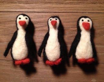 Felted Penguin ornament