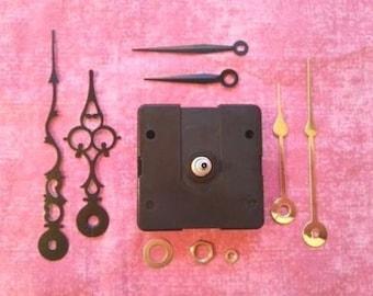 Clock Kit!  SHORT Shaft Battery Quartz Clock Movement with 3 Sets of Hands! DIY Custom Clock  (982C)