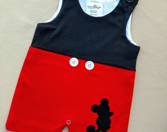 cf8bf282 Red Black Jon Jon, Mickey Mouse Inspired, Personalization Available, Blank  Disney Vacation Outfit Boys 3M 6M, 9M, 12M, 18M, 2T Toddler Baby