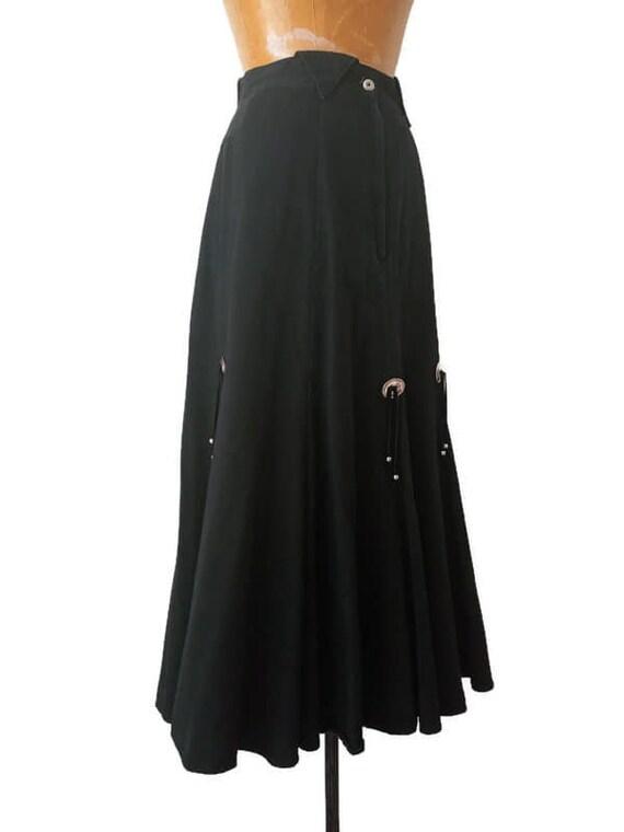 Vintage 1980s Western Black Skirt // 1980s Circle… - image 7
