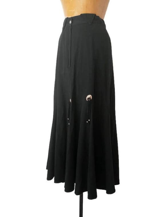 Vintage 1980s Western Black Skirt // 1980s Circle… - image 3