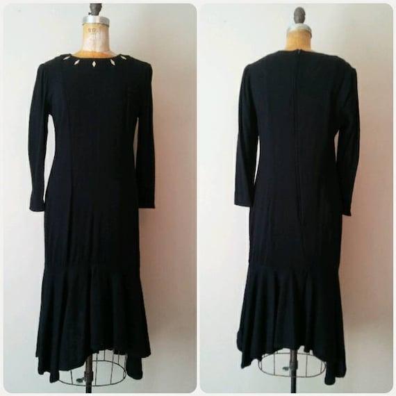 Black 1980s Drop Waist Knit Sweater Dress // Vampy