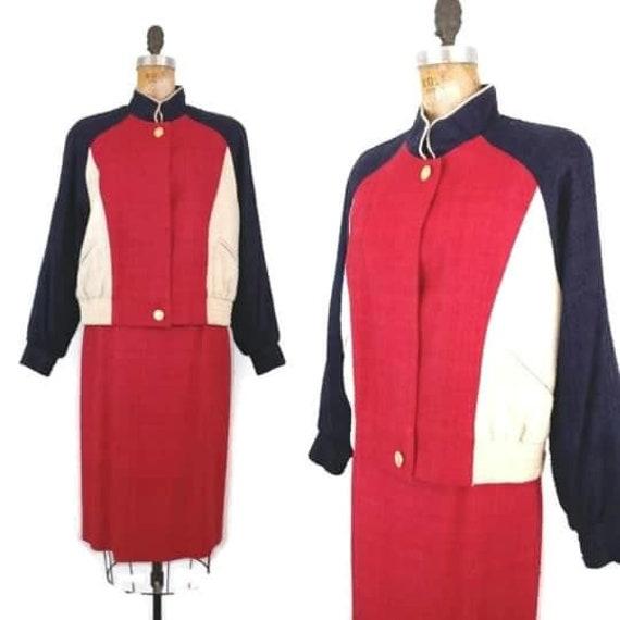 Vintage 1980s Color Block Lilli Ann Skirt Suit //