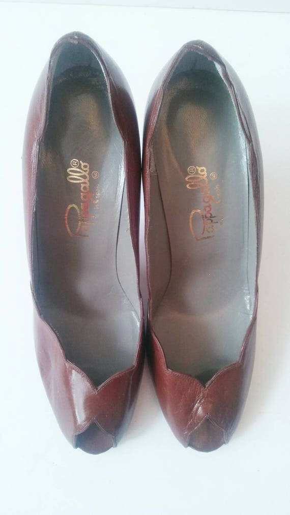 Scalloped Career Vintage Size Toe Wear High Pumps Vintage Peep Peep 80s Brown Heels Heel Work 9 Vintage Toe 9 Brown Pappagallo Brown Size XcqvXr