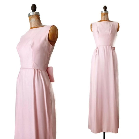 Vintage 1960s Tall Floor Length Pink Formal Dress