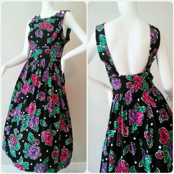 6b928a6fc659 Black Pink and Purple Roses and Polka Dots Open Back Sundress