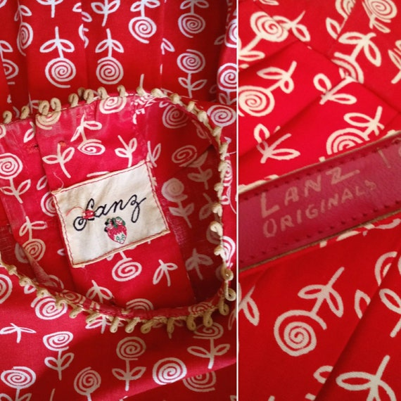 Vintage 1950s Lanz Red Rose Print XXS Tiny Dress … - image 10