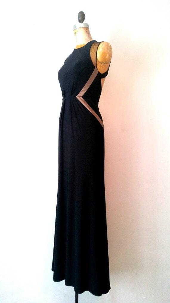 Vintage 1990s Black Mesh Keyhole Back Gown // Ope… - image 3