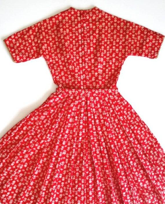 Vintage 1950s Lanz Red Rose Print XXS Tiny Dress … - image 8