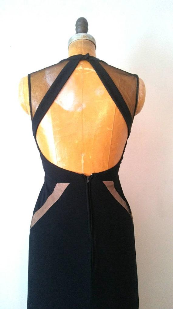 Vintage 1990s Black Mesh Keyhole Back Gown // Ope… - image 6