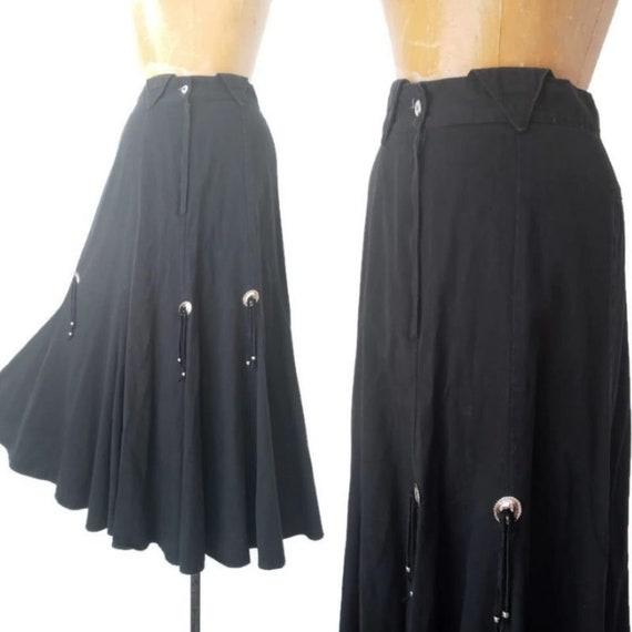Vintage 1980s Western Black Skirt // 1980s Circle