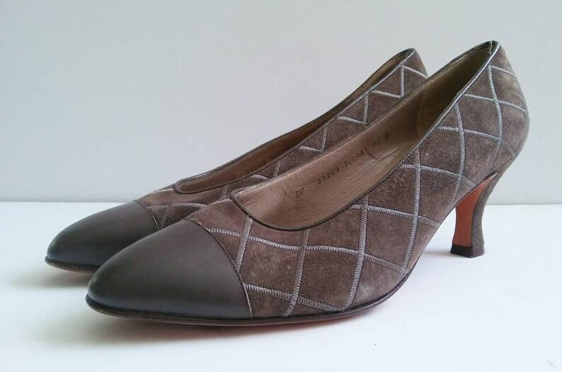 59bef5ec2d4a9 Vintage Salvatore Ferragamo Brown Suede Heel Size 6.5, Brown Crosshatch  Suede Pump, Vintage 1980s Ferragamo, 80s Brown Heel, Work Pumps 6.5