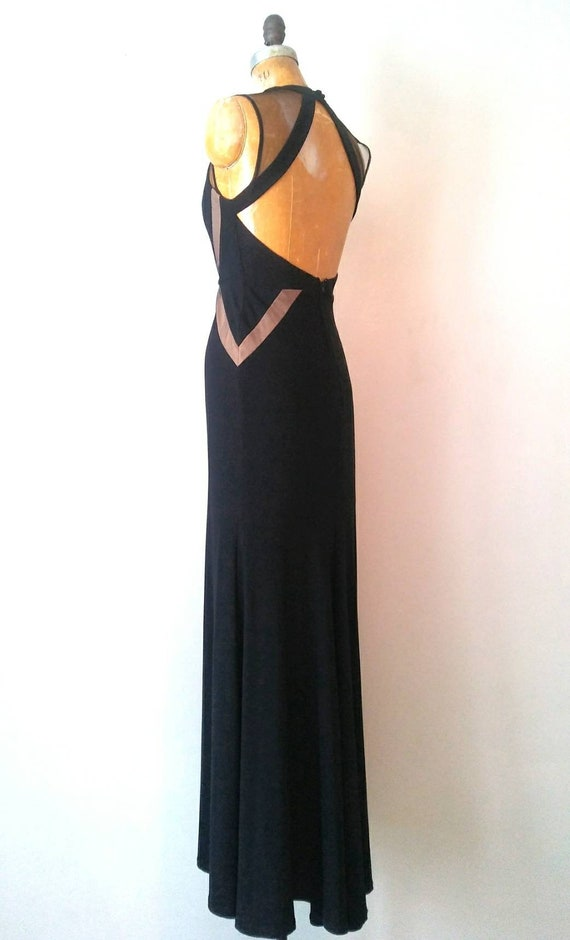 Vintage 1990s Black Mesh Keyhole Back Gown // Ope… - image 4