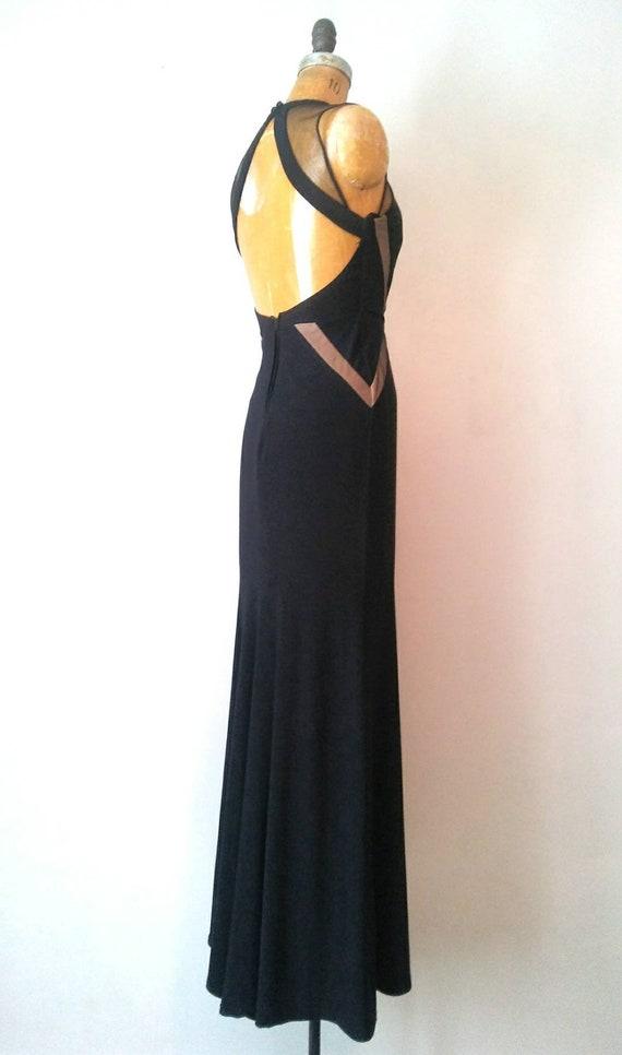 Vintage 1990s Black Mesh Keyhole Back Gown // Ope… - image 7