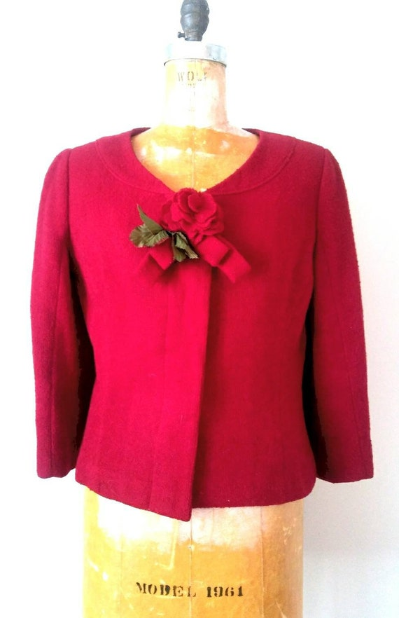 Vintage 1940s Red Rosette Jacket // Wool Crepe Ros