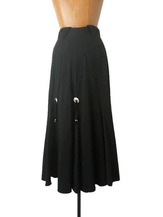 Vintage 1980s Western Black Skirt // 1980s Circle… - image 4