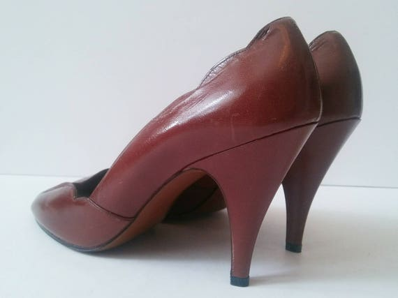 Scalloped Career Vintage Size Toe Wear High Pumps Vintage Peep Peep 80s Brown Heels Heel Work 9 Vintage Toe 9 Brown Pappagallo Brown Size XcqvXr