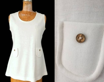 Vintage 1970s White Gold Button Pocket Sleeveless Knit Top by Fire Islander // Medium White Tunic Top with Pockets // Summer White Knit Top