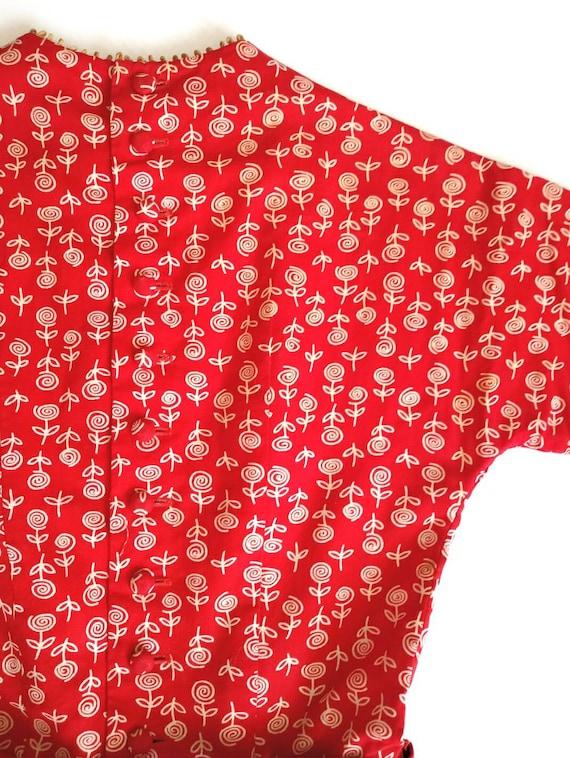 Vintage 1950s Lanz Red Rose Print XXS Tiny Dress … - image 9
