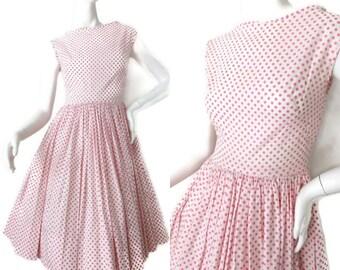 Quintessential 1950s Pink Polka Dot Circle Dress // 1950s White and Pink Dotted Dress // Sock Hop Polka Dot XS Dress // 50s Dress // 32B 25W
