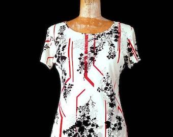 Vintage 1980s Black White Red Floral Geometric Design Top // 36B Medium White Geometric Floral Rayon 80s Top // 1980s Medium Top // Medium