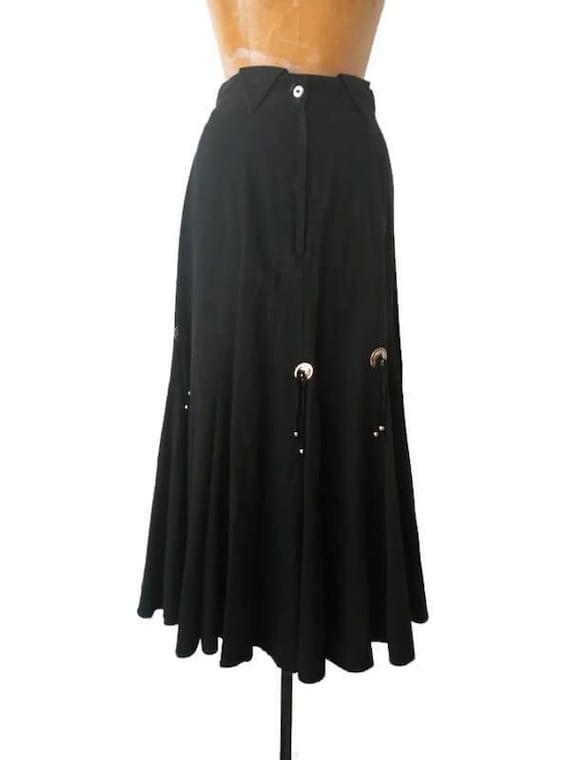 Vintage 1980s Western Black Skirt // 1980s Circle… - image 2