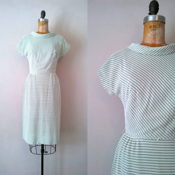 Vintage 1950s Green Striped Wiggle Dress // Shamro