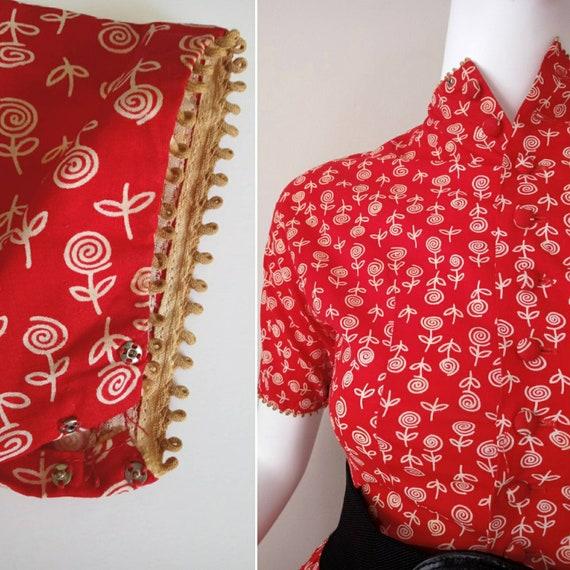 Vintage 1950s Lanz Red Rose Print XXS Tiny Dress … - image 7