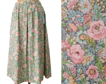 Vintage 1980s Deadstock Pleated Floral Skirt // 28W 40H Medium Floral 80s Skirt // Union Made 1980s Floral Pleated Skirt with Pocket