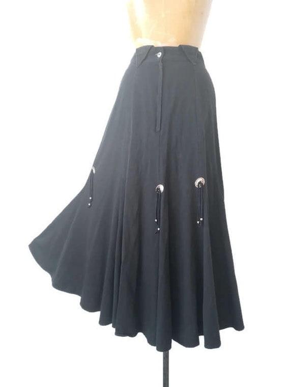 Vintage 1980s Western Black Skirt // 1980s Circle… - image 9