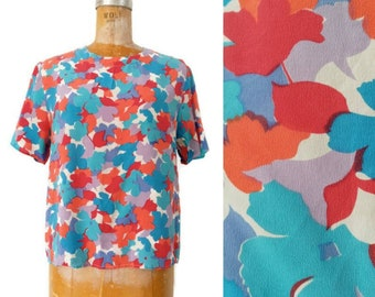 Vintage 1980s Large Fall Silk Blouse // Anna and Frank Vintage Leaf Abstract Layering Blouse // Layer Top // Blue Orange Red Silk Blouse