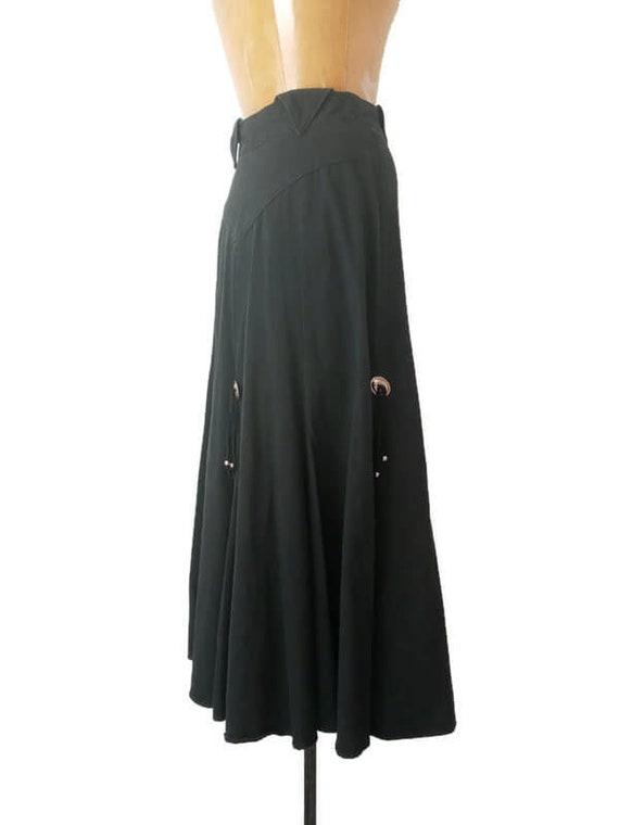 Vintage 1980s Western Black Skirt // 1980s Circle… - image 6