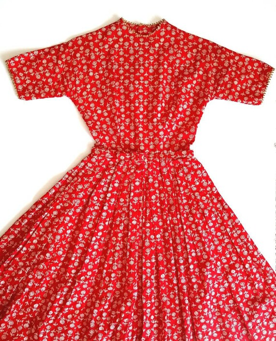 Vintage 1950s Lanz Red Rose Print XXS Tiny Dress … - image 1