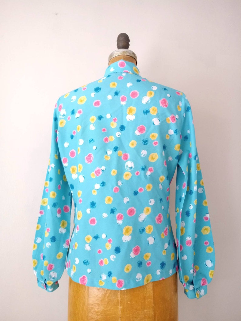 Vintage 1980s Career Blouse Turquoise Pink and Yellow Dotted Balloon Sleeve Blouse Vintage 1980s Turquoise Abstract Balloon Sleeve Blouse