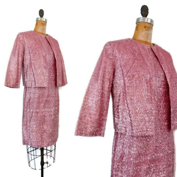 Vintage 1961 Hot Pink Eyelash Shift Dress & Jacket